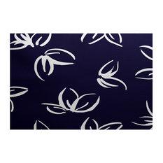 Navy Blue Eva, Floral Print Indoor Outdoor Rug, 2'x3'