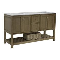 "Lakeshore 60"" Double Bathroom Vanity, Weathered Gray, Carrara Marble"