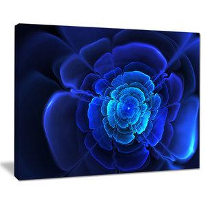 """Bright Blue Fractal Flower in Dark"" Wall Art, 40""x30"""
