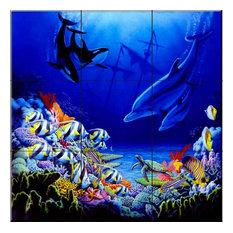 Tile Mural, Ocean Harmony I, 45.6x45.6 cm