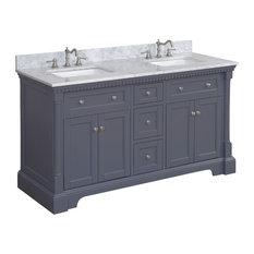 "Sydney Bath Vanity, Charcoal Gray, 60"", Carrara Marble, Double Sink"