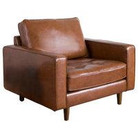 Hammond Mid-Century Leather Armchair, Camel