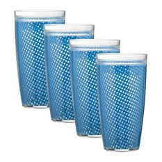 Kraftware Fishnet Double Wall Glasses, Process Blue, 24 oz, Set of 4