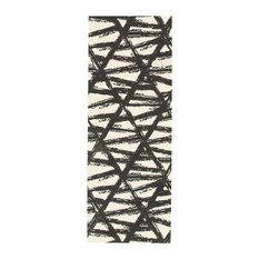 Bellisima Kitchen Runner Rugs, Anti Skid Rubber Backing, Black, Ivory, 2'2x8'0