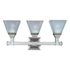 Brentwood 3-Light Bath Vanity Sconce, Satin Nickel, Frosted