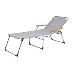 Fiam Amigo Forty Sun Lounger With Armrests, Grey