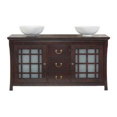 Shoji Pacific-Rim Double Bathroom Vanity Set, Vintage Walnut, 60""