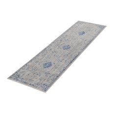 Bright Grey and Light Blue Runner, 55x200 cm