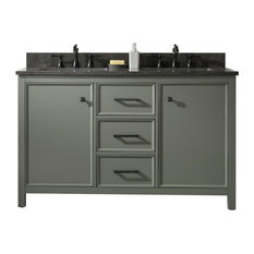 54-inch Blue Finish Double Sink Vanity Cabinet Carrara White Top Pewter Green
