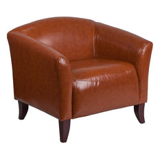 Radisson Cognac Leather Office Chair With Wood Feet