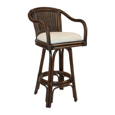 Key West Indoor Swivel Rattan & Wicker 30 Bar Stool Antique Finish Sunbrella Ca