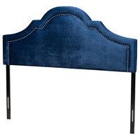 Contemporary Navy Blue Velvet Fabric Upholstered King Size Headboard