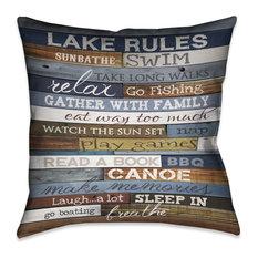 Lake Rules Decorative Pillow