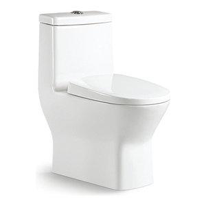 CARUS Small Short Compact Toilet Tiny Elongated Dual Flush, 23.5 x 13.5