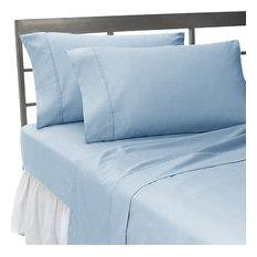 600TC 100% Egyptian Cotton Solid Blue Twin XXL Size Sheet Set