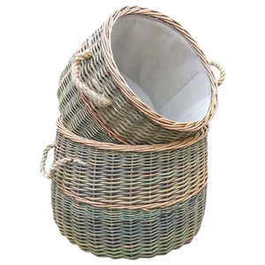 Lined Rustic Willow Country Log Baskets, Set of 2
