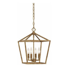 Millennium Lighting Incorporated   Cage Frame 4 Light Pendant, Vintage Gold    Pendant Lighting