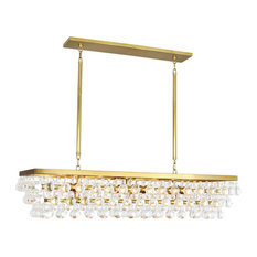 Bling Rectangle Chandelier, Antique Brass