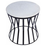 The Urban Port - The Urban Port Drum Shaped Round Marble Top Side/End Table, White - The Urban Port Drum Shaped Round Marble Top Side/ End Table, WhiteA Charming Addition To Your Living Space. This Convex Shaped Side/End Table Has A White Marble Round Top With Black Iron Base Side That Complements Every Decor Style. Use It In Enhancing Your Living Room, Hallway And Even The Patio Or Garden Settings.