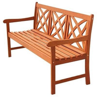 Sustainable Eucalyptus Wood 5' Outdoor Garden Bench, Natural Finish