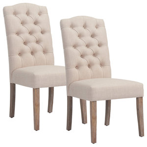 Linen Button Tufted Side Chair, Set of 2, Beige