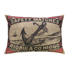 "Anchor Linen Pillow, 18""x12"""