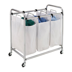 Honey Can Do - Chrome Heavy-Duty Triple Laundry Sorter - Hampers