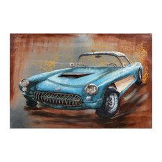 """Blue Car"" Mixed Media Iron Hand Painted Dimensional Wall Art 48""x32"""