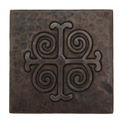 """Medallion Design Hammered Copper Tile, 4""""x 4"""""""
