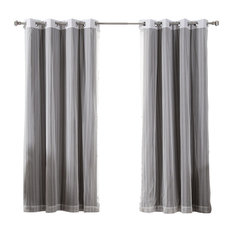 """Zigzag Lace and Solid Blackout Curtain Set, Dark Gray, 84"""""""