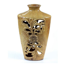 Privilege International Pierced Ceramic Scroll Vase