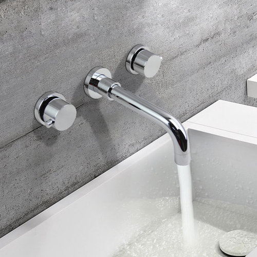 Stev Double Round Handle Wall Mount Sink Faucet   Bathroom Sink Faucets