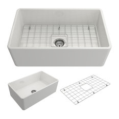 """Classico Farmhouse Kitchen Sink With Grid and Strainer, 30"""", White"""