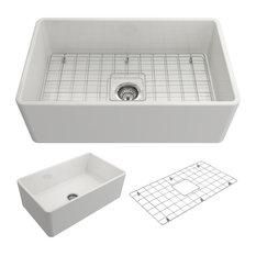 "Bocchi - Sanikey USA Inc - Classico Farmhouse Kitchen Sink With Grid and Strainer, White, 30"" - Kitchen Sinks"