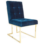 Jonathan Adler - Goldfinger Dining Chair, Rialto Navy - Pared down geometry in polished brass meets swanky Rialto Navy velvet or Roma Oatmeal linen in our Goldfinger Collection. A little bit '70s, a lot today. Goldfinger is the winning ticket that adds Modernist rigor to your Park Ave pad or swanks up your Mid-Century abode. Our Goldfinger Dining Chair looks as good from the back as it does from the front.