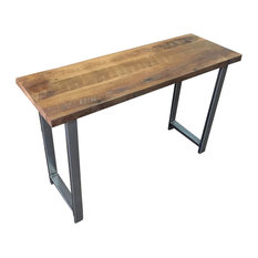 Reclaimed Wood Industrial Console Table With H Legs Light Finish 48-inchx16-inch