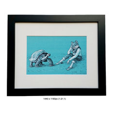 A Day In The Shell - Animal Illustration Framed Art Print - Turtle and Fox
