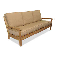 Goldenteak - Teak Deep Seating Sofa with Cushions, Canvas Heather Beige - Outdoor Sofas