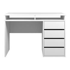 Tvilum - Wyatt 4 Drawer and 2 Shelf Desk - Desks and Hutches