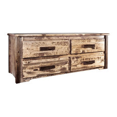 Montana Log Wood 4 Drawer Sitting Chest In Stain And Clear Lacquer MWHCSCSL