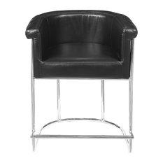Barrel-Style Modern Upholstered Counter Stool Black