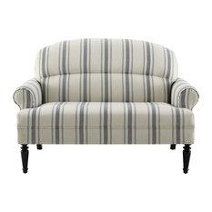 Roll Arm Upholstered Sofa, Cambridge Blue Stripe