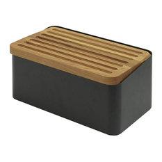 Legnoart Crispy Black Bread Bin Body With Double Functioning Lid