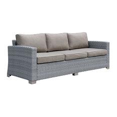 Furniture of America Condor Contemporary Rattan Wicker Patio Sofa in Gray