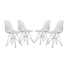 Leisuremod Cresco Molded Eiffel Base Dining Chair, Set of 4, Clear