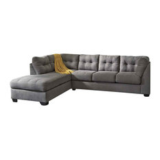 Signature By Ashley   2 Piece Tufted Back Sectional Sofa, Charcoal Finish    Sectional