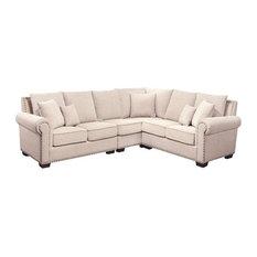 Abbyson Living   Abbyson Living Bromley Fabric Nailhead Sectional Sofa,  Sandstone   Sectional Sofas