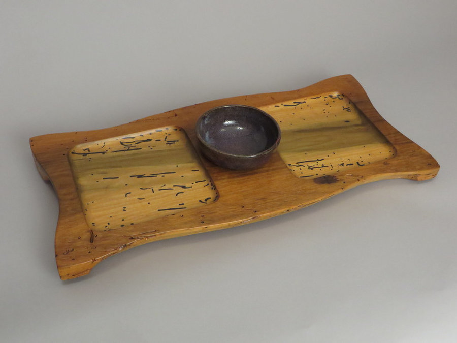 #15030 Hand-Carved Serving Tray. Reclaimed Poplar, Ceramic Bowl.