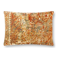 """In/out P0882 Antique Rug Inspired Printed Rust Pillow by Loloi, 16""""x26"""", No Fill"""