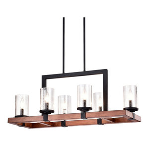 6-Light Black and Wood Rectangular Linear Chandelier With Seeded Glass